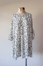 Load image into Gallery viewer, Dalmatian Print Ruffle Long-Sleeve Dress