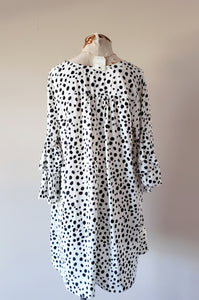 Dalmatian Print Ruffle Long-Sleeve Dress