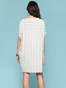 Yarn Dye Stripe Cuffed Sleeve Dress