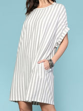 Load image into Gallery viewer, Yarn Dye Stripe Cuffed Sleeve Dress