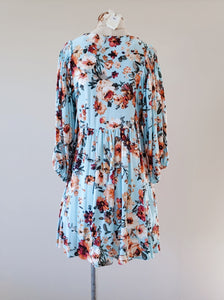 [Plus] Floral Print Puff Sleeve Babydoll Dress