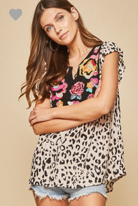 Leopard and Floral Mix Print Top