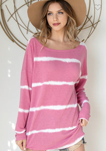 STRIPED BOAT NECK CURVED HEM TOP
