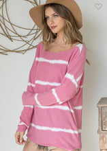 Load image into Gallery viewer, STRIPED BOAT NECK CURVED HEM TOP