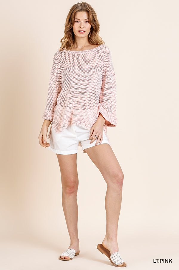 High Low Waffle Knit Top