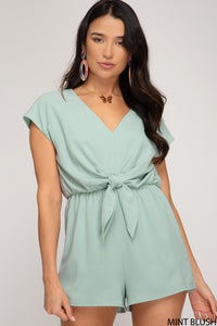 Drop Shoulder Woven Romper with Front Tie Detail