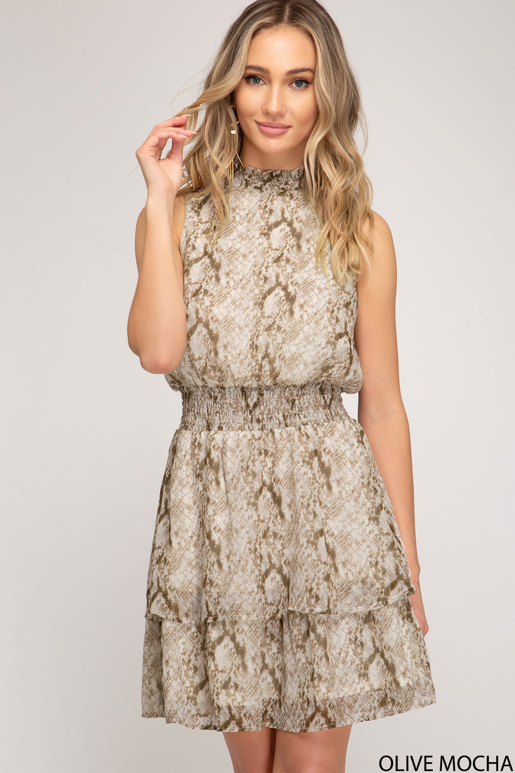 Snake Print Sleeveless Mini Dress