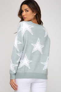 FUZZY STAR PRINT SWEATER