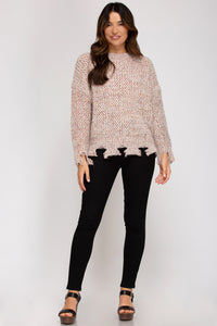 COLORFUL LONG-SLEEVE DISTRESSED KNIT SWEATER