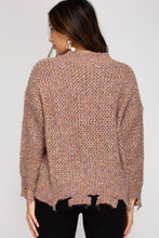 Load image into Gallery viewer, COLORFUL LONG-SLEEVE DISTRESSED KNIT SWEATER