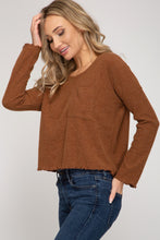 Load image into Gallery viewer, SOLID LONG-SLEEVE RIB KNIT TOP