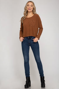 SOLID LONG-SLEEVE RIB KNIT TOP