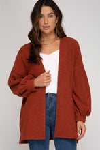 Load image into Gallery viewer, LONG BALLOON-SLEEVE OPEN-FRONT KNIT CARDIGAN