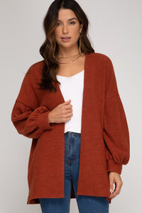 LONG BALLOON-SLEEVE OPEN-FRONT KNIT CARDIGAN