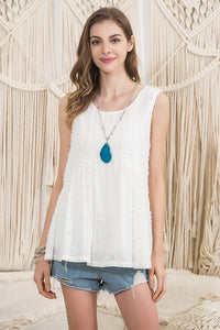 [Plus] Sleeveless Top with Fringe Detail
