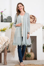 Load image into Gallery viewer, Light Knit Mix Fabric Duster Cardigan