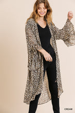 Load image into Gallery viewer, Sheer Animal Print Ruffle Sleeve Open Front Long Kimono