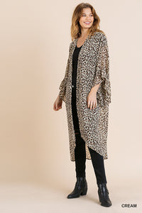 Sheer Animal Print Ruffle Sleeve Open Front Long Kimono