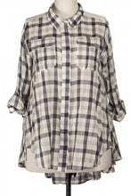 Load image into Gallery viewer, Lace Accent Plaid Button Up Shirt