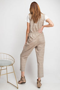 Striped Sleeveless Button-Down Jumpsuit