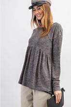 Load image into Gallery viewer, HACCI KNIT RUFFLE LONG-SLEEVE TOP
