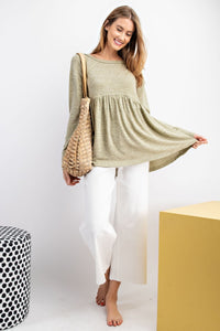 HACCI KNIT RUFFLE LONG-SLEEVE TOP