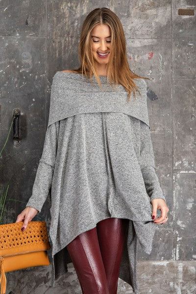 SOLID LOOSE-FIT PONCHO PULLOVER