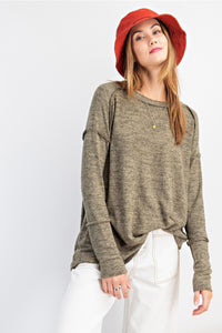 BRUSHED HACCI KNIT LOOSE-FIT TOP