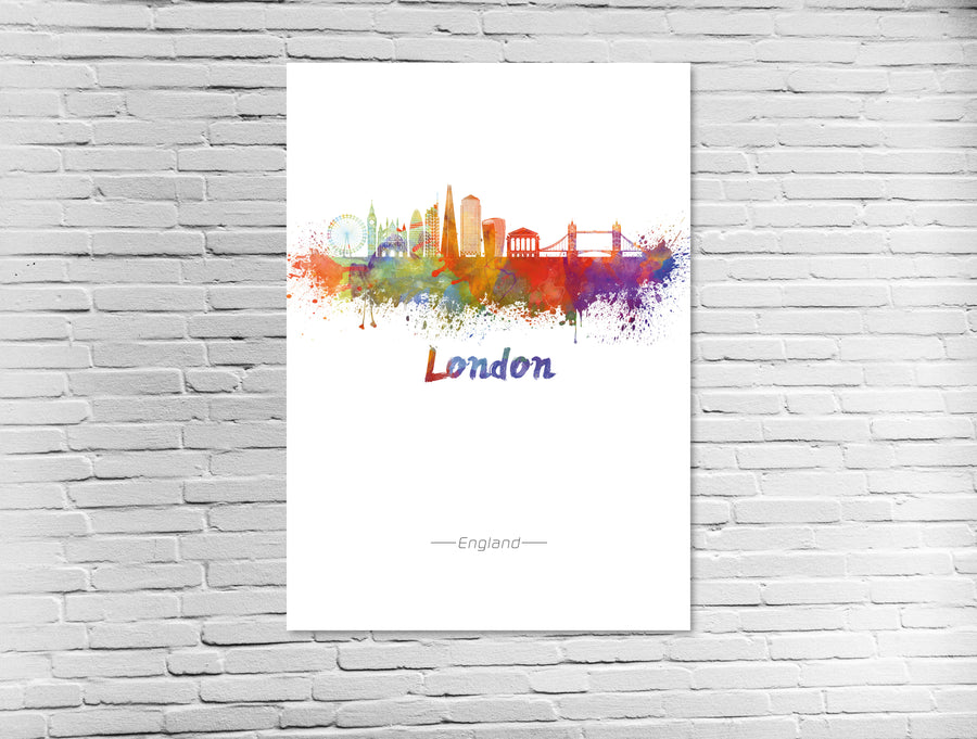 London Skyline in Wasserfarben