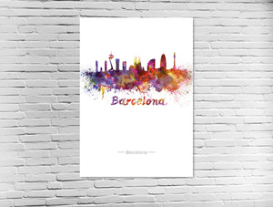 Barcelona Skyline in Wasserfarben
