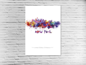 New York Skyline in Wasserfarben