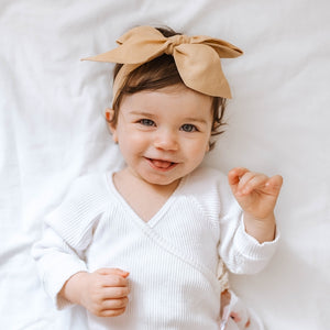Snuggle Hunny Kids Sun Kissed Linen Bow Pre-Tied Headband Wrap