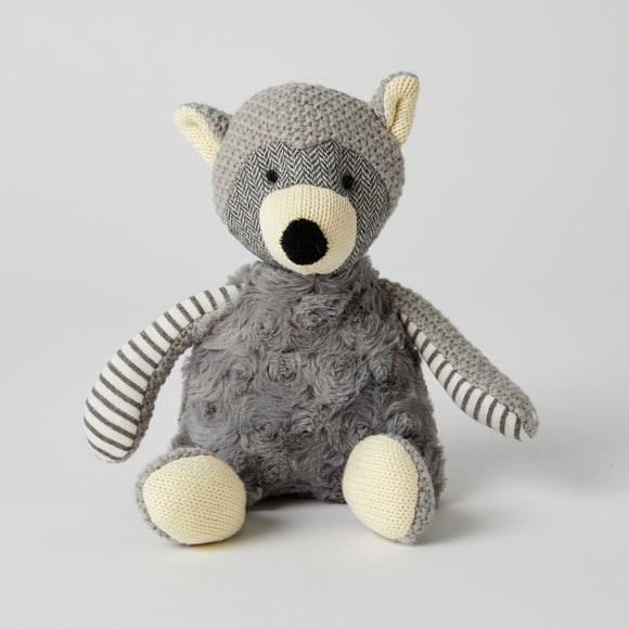Plush Grey Racoon with Rattle
