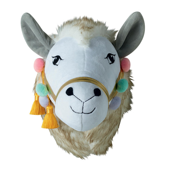 Wall hanging Woodlands Llama with Pom Pom Trim 3D Felt