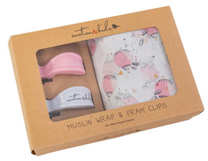 Pink Hot Air Balloon Muslin Wrap and Pram Clips Box Set