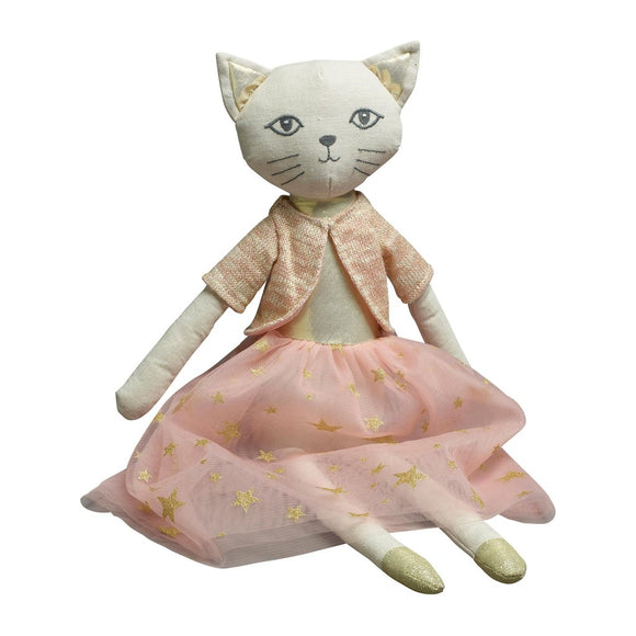 Cat Princess toy with tulle skirt and knitted cardigan