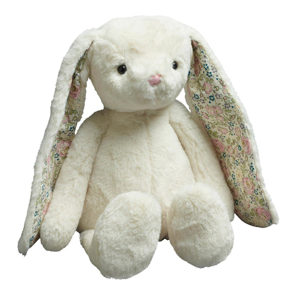 Soft white bunny with pretty floral inner ear.