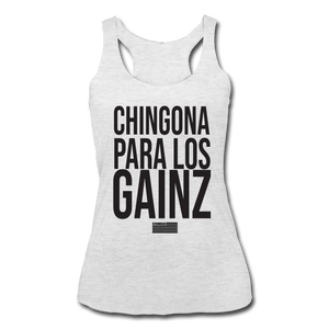 Open image in slideshow, Chingona  Racerback Tank Blk - heather white