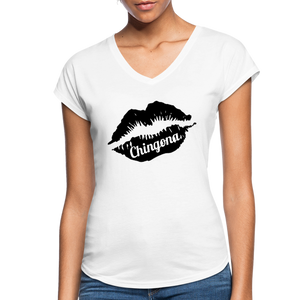 Chingona White V-Neck - white