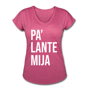 Pa Lante Mija V Neck - heather raspberry