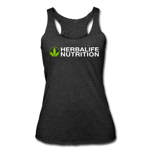 Women's All White Herbalife Tri-Blend Racerback Tank - heather black