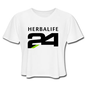 Open image in slideshow, Women's Herbalife 24 Cropped T-Shirt Blk - white