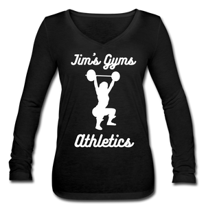 Open image in slideshow, Women's Jim's Gyms Long Sleeve  V-Neck Flowy Tee - black