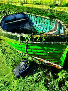 Bright green fishing boat