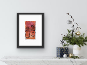 Cactus - potted plants II - terracotta and rose