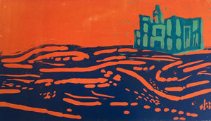 Palace on the hill - orange and blue