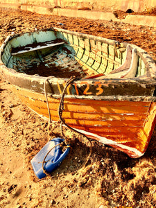Sunshine yellow fishing boat