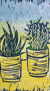 Cactus - potted plants II - pale blue & yellow