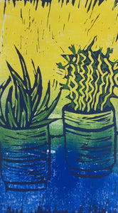 Cactus - potted plants II - blue & yellow