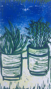 Cactus - potted plants II - bright blue